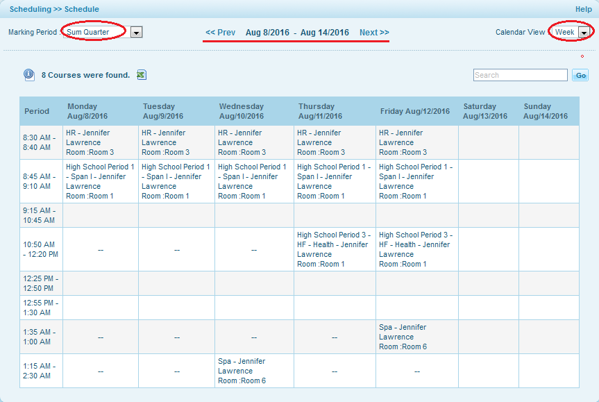 how to view child s daily weekly or monthly schedule os4ed